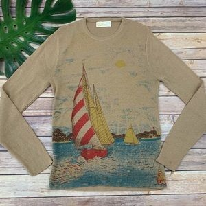 women's vintage sailboat scene pullover sweater
